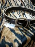 KILLER 50s ROCKABILLY BROWN LEATHER BELT- SIZE 90 -AMAZING DESIGN - TOP QUALITY - VLV -